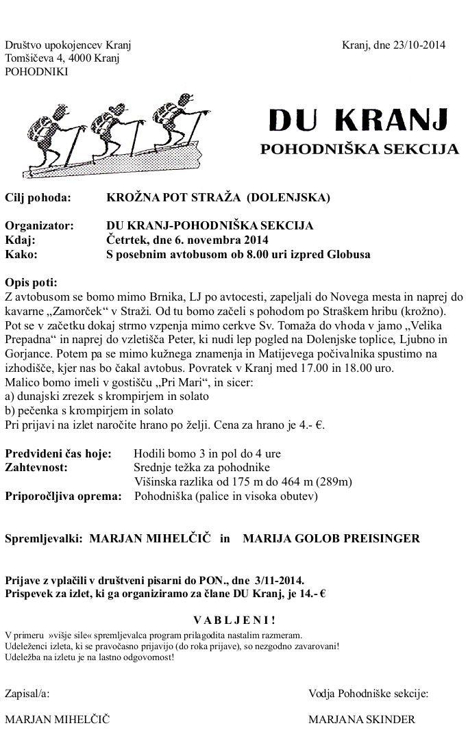 Krožna pot Straža 16.10.2014