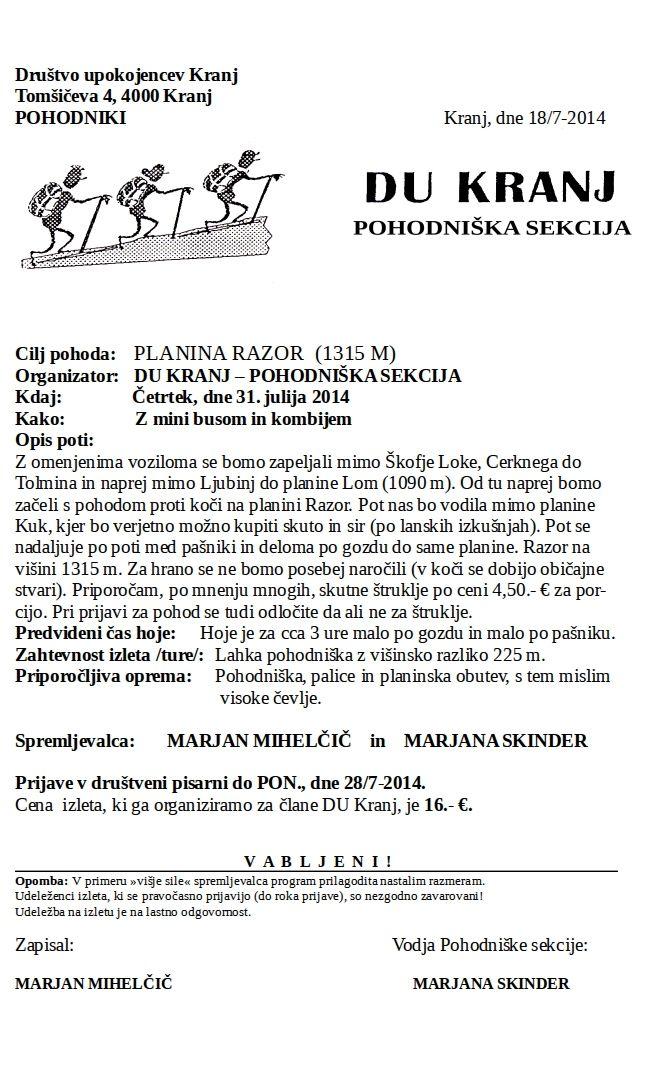 Planina Razor 31.7.2014