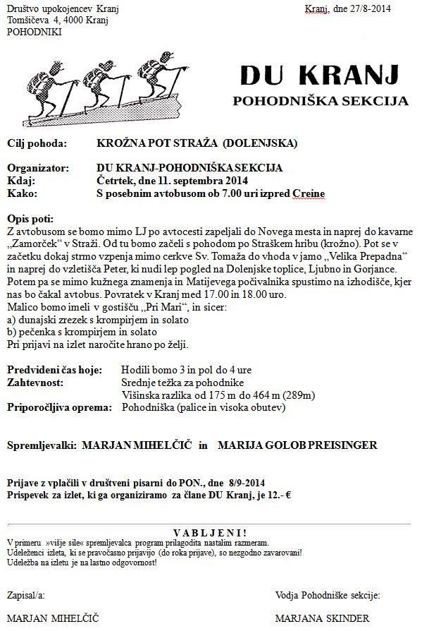 Krožna pot Straža 27-08-2014